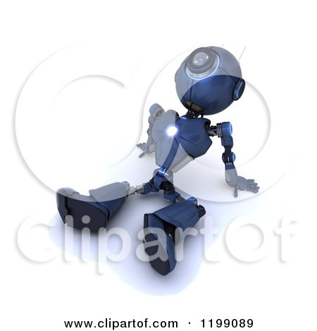 Clipart of a 3d Blue Android Robot Sitting Back and Gazing at the Sky - Royalty Free CGI Illustration by KJ Pargeter