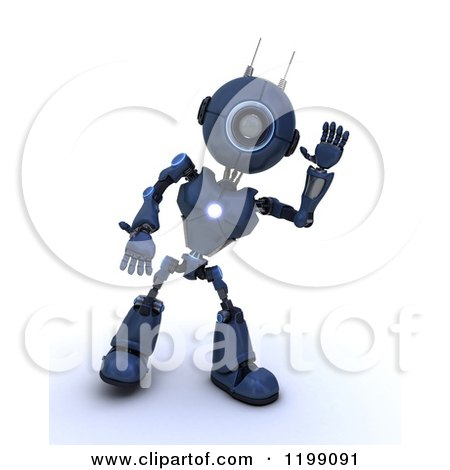 Clipart of a 3d Blue Android Robot Waving - Royalty Free CGI Illustration by KJ Pargeter