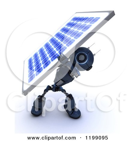 Clipart of a 3d Blue Android Robot Carrying a Solar Panel on His Back - Royalty Free CGI Illustration by KJ Pargeter