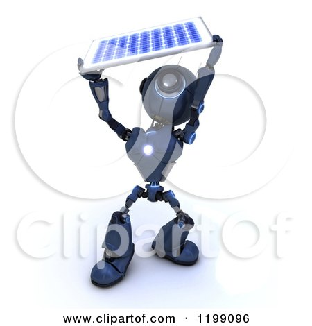 Clipart of a 3d Blue Android Robot Holding up a Solar Panel - Royalty Free CGI Illustration by KJ Pargeter