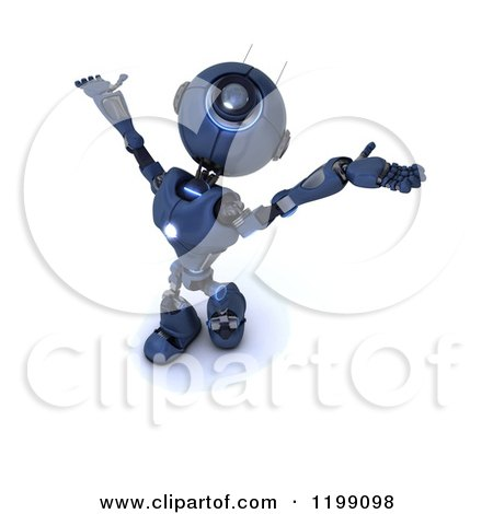 Clipart of a 3d Blue Android Robot Holding His Arms out to the Sky - Royalty Free CGI Illustration by KJ Pargeter