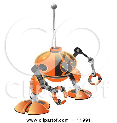 Small Orange Robot With Claw Hands Posters, Art Prints