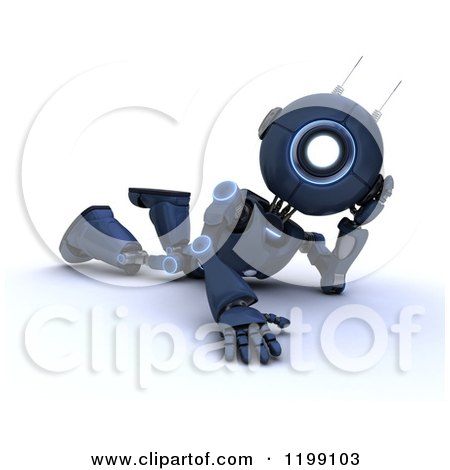 Clipart of a 3d Blue Android Robot Relaxing on the Floor - Royalty Free CGI Illustration by KJ Pargeter