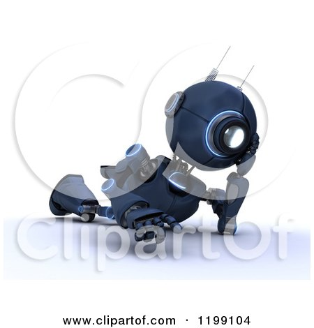 Clipart of a 3d Blue Android Robot Thinking on the Floor - Royalty Free CGI Illustration by KJ Pargeter