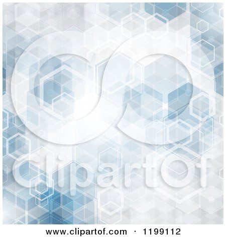 Clipart of an Abstract Blue Hexagon Background - Royalty Free Vector Illustration by KJ Pargeter