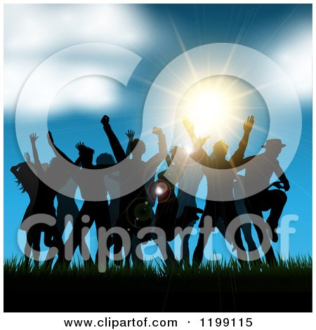 Clipart of Silhouetted People Dancing in Grass Against a Sunset and Blue Sky - Royalty Free Vector Illustration by KJ Pargeter