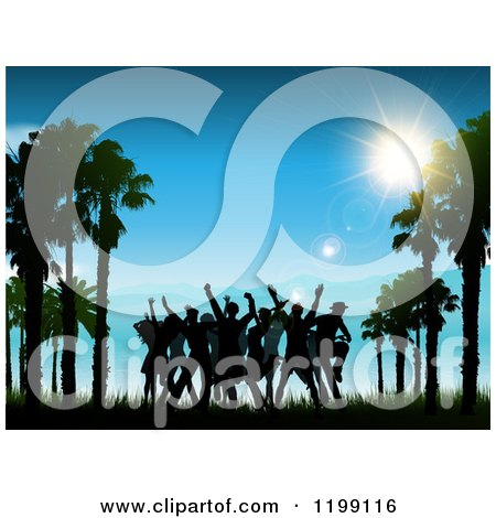 Clipart of Silhouetted People Dancing Between Beach Palm Trees Against a Sunny Blue Sky - Royalty Free Vector Illustration by KJ Pargeter