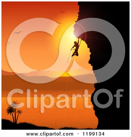 Clipart of a Silhouetted Rock Mountain Climber Against an Orange Tropical Sunset and Bay - Royalty Free Vector Illustration by KJ Pargeter