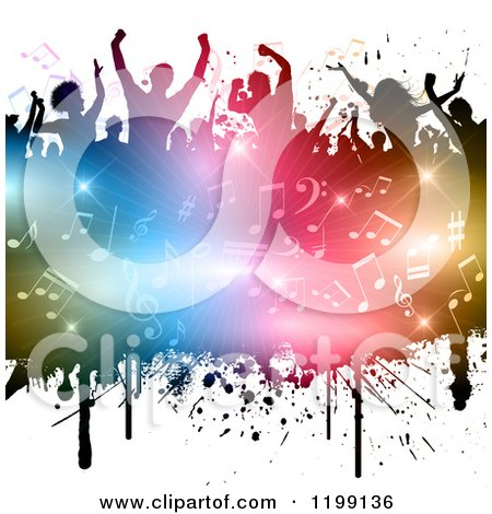 Clipart Of A Crowd Of Silhouetted People Over A Burst Of Colorful Lights And Music Notes On White Royalty Free Vector Illustration