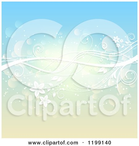 Clipart of a White Floral Vine over Gradient Blue and Yellow with Flares - Royalty Free Vector Illustration by KJ Pargeter