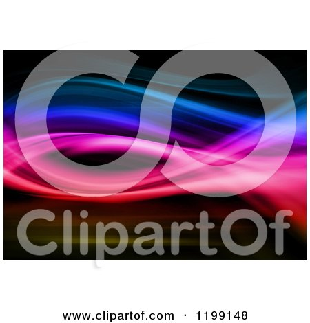 Clipart of a Background of Colorful Swoosh Waves on Black - Royalty Free CGI Illustration by KJ Pargeter