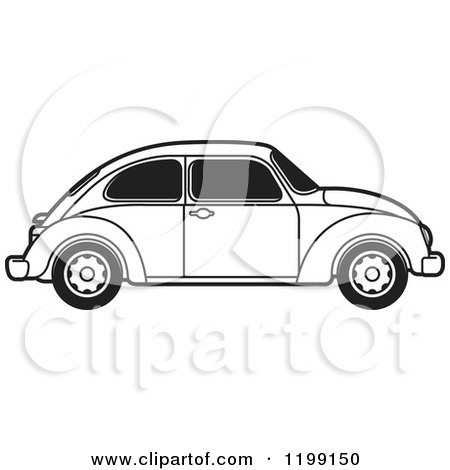 Clipart of a Vintage Black and White Vw Beetle Car with Tinted Windows - Royalty Free Vector Illustration by Lal Perera
