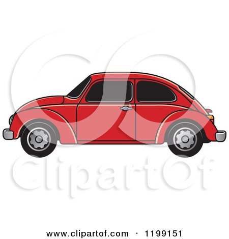 Clipart of a Vintage Red Vw Beetle Car with Tinted Windows - Royalty Free Vector Illustration by Lal Perera