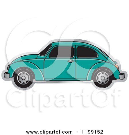 Clipart of a Vintage Sea Green Vw Beetle Car with Tinted Windows - Royalty Free Vector Illustration by Lal Perera