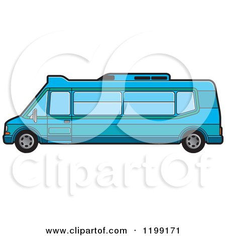 Clipart of a Blue Tourist Van - Royalty Free Vector Illustration by Lal Perera