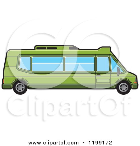 Clipart of a Green Tourist Van - Royalty Free Vector Illustration by Lal Perera