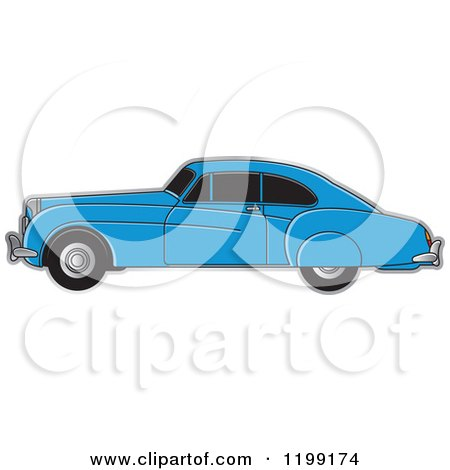 Clipart of a Blue Vintage Bently Car with Tinted Windows - Royalty Free Vector Illustration by Lal Perera
