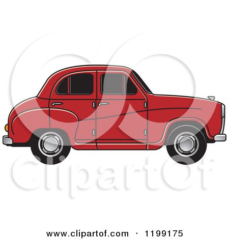 Clipart of a Red Austin A30 Car - Royalty Free Vector Illustration by Lal Perera
