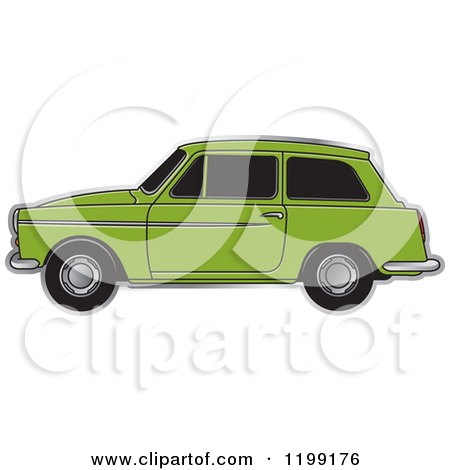 Clipart of a Green Austin A40 Car - Royalty Free Vector Illustration by Lal Perera
