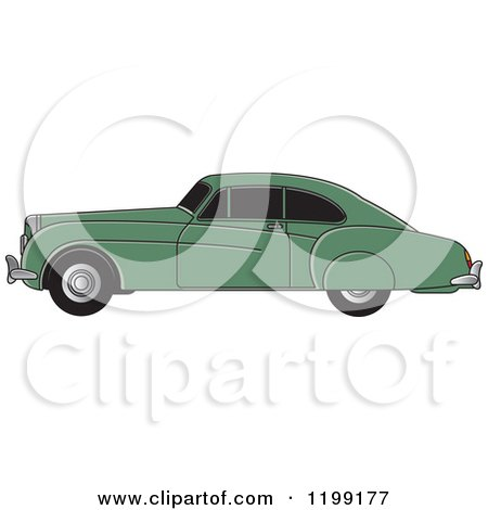 Clipart of a Green Vintage Bently Car with Tinted Windows - Royalty Free Vector Illustration by Lal Perera