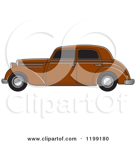 Clipart of a Vintage Brown Benz - Royalty Free Vector Illustration by Lal Perera