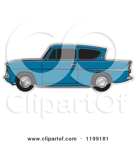 Clipart of a Vintage Blue Ford Anglia Car with Tinted Windows - Royalty Free Vector Illustration by Lal Perera