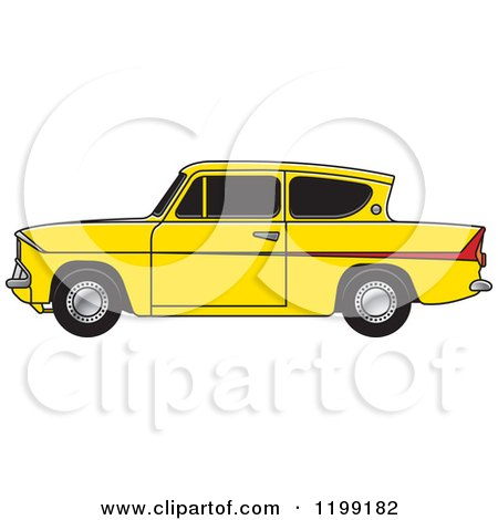 Clipart of a Vintage Yellow Ford Anglia Car with Tinted Windows - Royalty Free Vector Illustration by Lal Perera