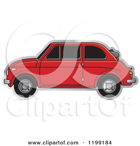 Clipart of a Vintage Red Fiat Car with Tinted Windows - Royalty Free Vector Illustration by Lal Perera