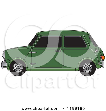 Clipart of a Vintage Green Morris Mini Car - Royalty Free Vector Illustration by Lal Perera