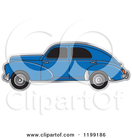 Clipart of a Vintage Blue Peugeot Car with Tinted Windows - Royalty Free Vector Illustration by Lal Perera