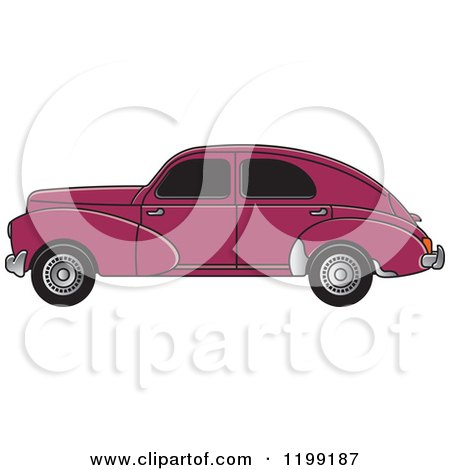 Clipart of a Vintage Maroon Peugeot Car with Tinted Windows - Royalty Free Vector Illustration by Lal Perera