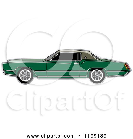 Clipart of a Vintage Green Cadillac - Royalty Free Vector Illustration by Lal Perera