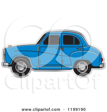 Clipart of a Blue Austin A30 Car - Royalty Free Vector Illustration by Lal Perera