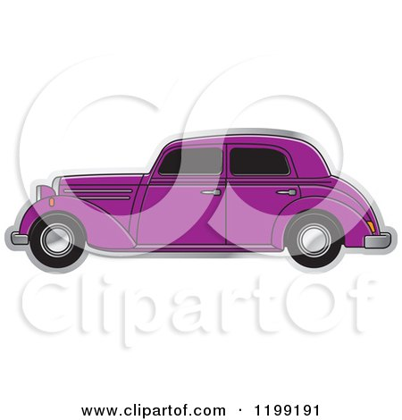 Clipart of a Vintage Purple Benz - Royalty Free Vector Illustration by Lal Perera