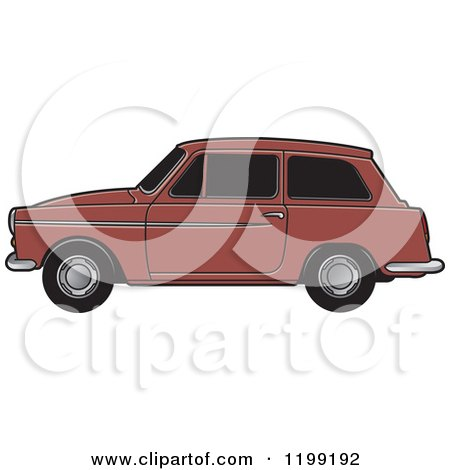 Clipart of a Brown Austin A40 Car - Royalty Free Vector Illustration by Lal Perera