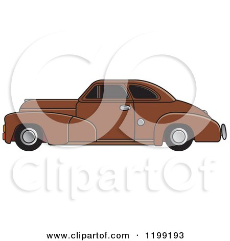 Clipart of a Vintage Brown Chevrolet Car with Tinted Windows - Royalty Free Vector Illustration by Lal Perera