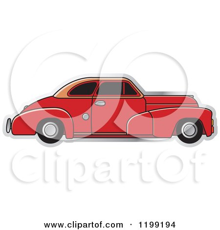 Clipart of a Vintage Red Chevrolet Car with Tinted Windows - Royalty Free Vector Illustration by Lal Perera