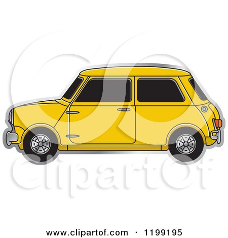 Clipart of a Vintage Yellow Morris Mini Car - Royalty Free Vector Illustration by Lal Perera