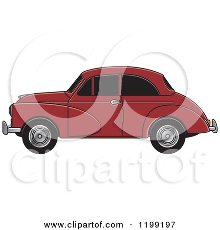 Clipart of a Vingage Maroon Morris Minor Car with Tinted Windows - Royalty Free Vector Illustration by Lal Perera
