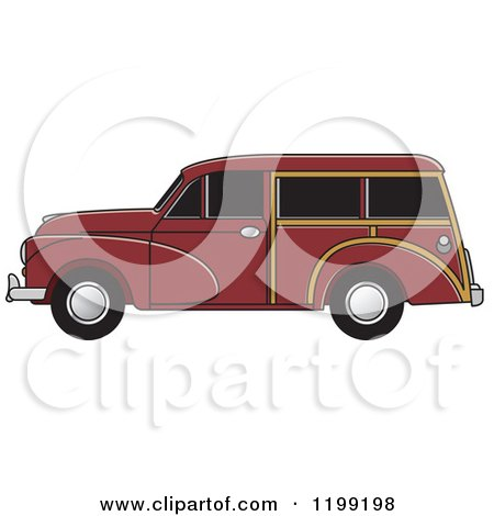 Clipart of a Vintage Brown Morris Minor Car with Tinted Windows - Royalty Free Vector Illustration by Lal Perera