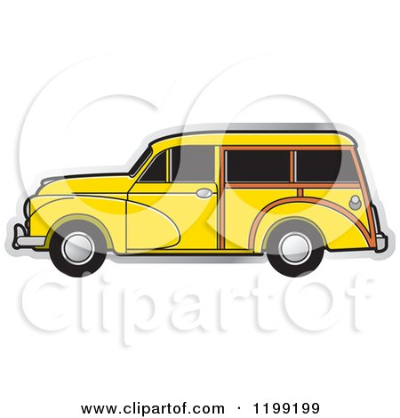 Clipart of a Vintage Yellow Morris Minor Car with Tinted Windows - Royalty Free Vector Illustration by Lal Perera