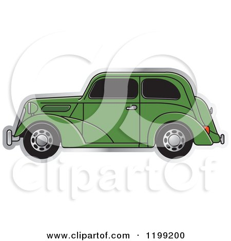 Clipart of a Green Vintage Ford Car with Tinted Windows - Royalty Free Vector Illustration by Lal Perera