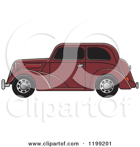 Clipart of a Brown Vintage Ford Car with Tinted Windows - Royalty Free Vector Illustration by Lal Perera