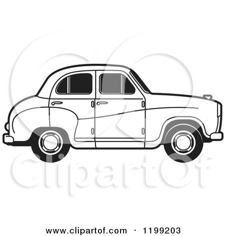 Clipart of a Black and White Austin A30 Car - Royalty Free Vector Illustration by Lal Perera