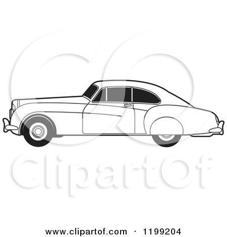 Clipart of a Black and White Vintage Bently Car with Tinted Windows - Royalty Free Vector Illustration by Lal Perera