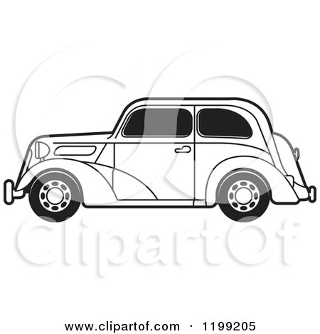 Clipart of a Black and White Vintage Ford Car with Tinted Windows - Royalty Free Vector Illustration by Lal Perera