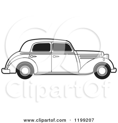 Clipart of a Vintage Black and White Benz - Royalty Free Vector Illustration by Lal Perera