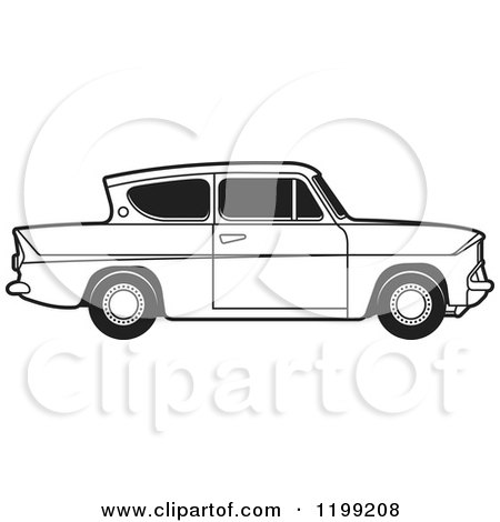 Clipart of a Vintage Black and White Ford Anglia Car with Tinted Windows - Royalty Free Vector Illustration by Lal Perera
