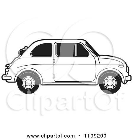 Clipart of a Vintage Black and White Fiat Car with Tinted Windows - Royalty Free Vector Illustration by Lal Perera