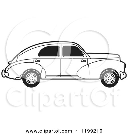 Clipart of a Vintage Black and White Peugeot Car with Tinted Windows - Royalty Free Vector Illustration by Lal Perera